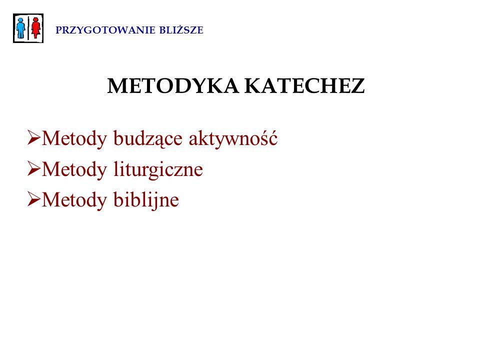 PRZYGOTOWANIE BLIŻSZE METODYKA KATECHEZ  Metody budzące aktywność  Metody liturgiczne  Metody biblijne