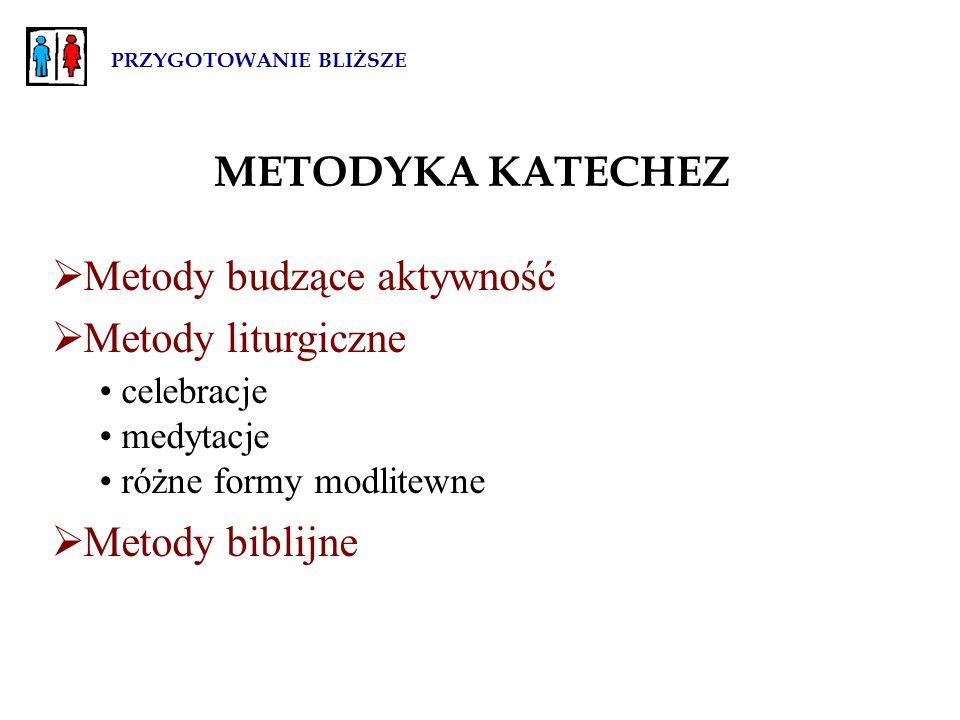 PRZYGOTOWANIE BLIŻSZE METODYKA KATECHEZ  Metody budzące aktywność  Metody liturgiczne celebracje medytacje różne formy modlitewne  Metody biblijne