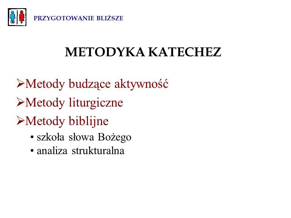 PRZYGOTOWANIE BLIŻSZE METODYKA KATECHEZ  Metody budzące aktywność  Metody liturgiczne  Metody biblijne szkoła słowa Bożego analiza strukturalna