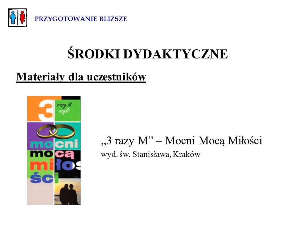 """PRZYGOTOWANIE BLIŻSZE Materiały dla uczestników """"3 razy M – Mocni Mocą Miłości wyd."""