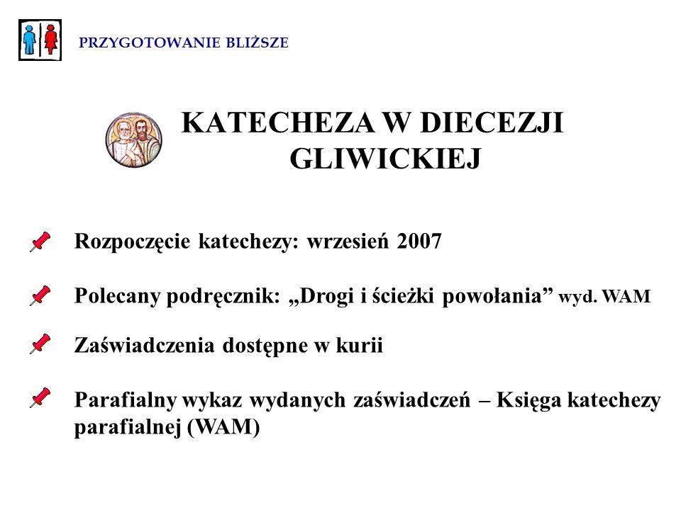 """PRZYGOTOWANIE BLIŻSZE KATECHEZA W DIECEZJI GLIWICKIEJ Rozpoczęcie katechezy: wrzesień 2007 Polecany podręcznik: """"Drogi i ścieżki powołania wyd."""