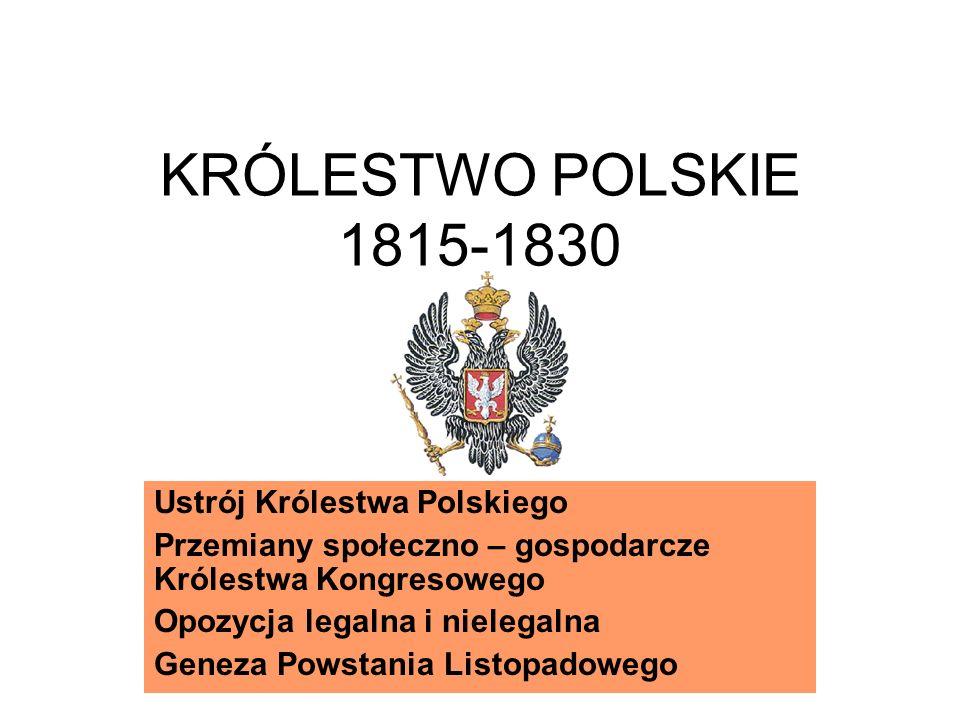 KRÓLESTWO POLSKIE 1815-1830 Ustrój Królestwa Polskiego Przemiany społeczno – gospodarcze Królestwa Kongresowego Opozycja legalna i nielegalna Geneza Powstania Listopadowego