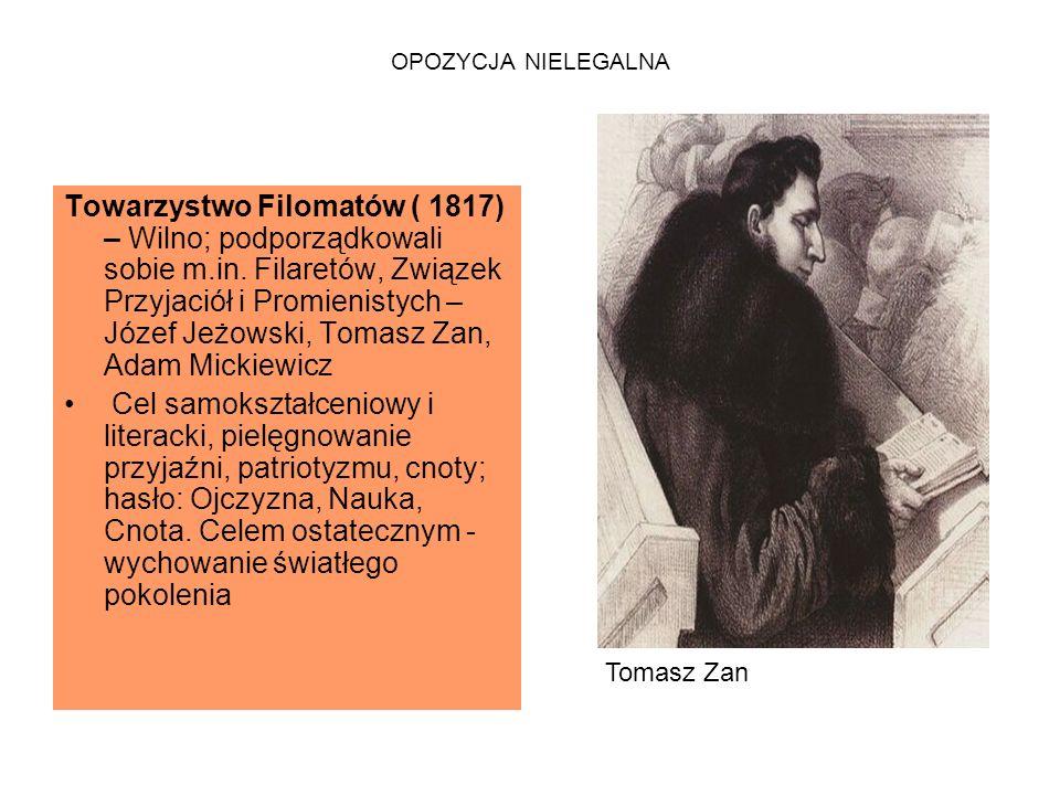 OPOZYCJA NIELEGALNA Towarzystwo Filomatów ( 1817) – Wilno; podporządkowali sobie m.in.