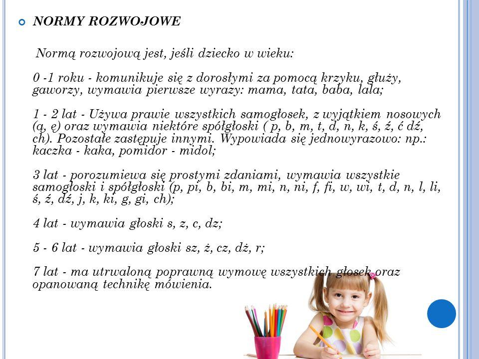 NORMY ROZWOJOWE Normą rozwojową jest, jeśli dziecko w wieku: 0 -1 roku - komunikuje się z dorosłymi za pomocą krzyku, głuży, gaworzy, wymawia pierwsze wyrazy: mama, tata, baba, lala; 1 - 2 lat - Używa prawie wszystkich samogłosek, z wyjątkiem nosowych (ą, ę) oraz wymawia niektóre spółgłoski ( p, b, m, t, d, n, k, ś, ź, ć dź, ch).