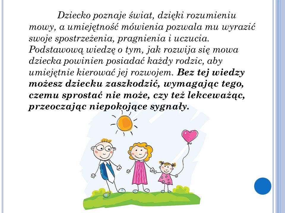 Dziecko poznaje świat, dzięki rozumieniu mowy, a umiejętność mówienia pozwala mu wyrazić swoje spostrzeżenia, pragnienia i uczucia. Podstawową wiedzę
