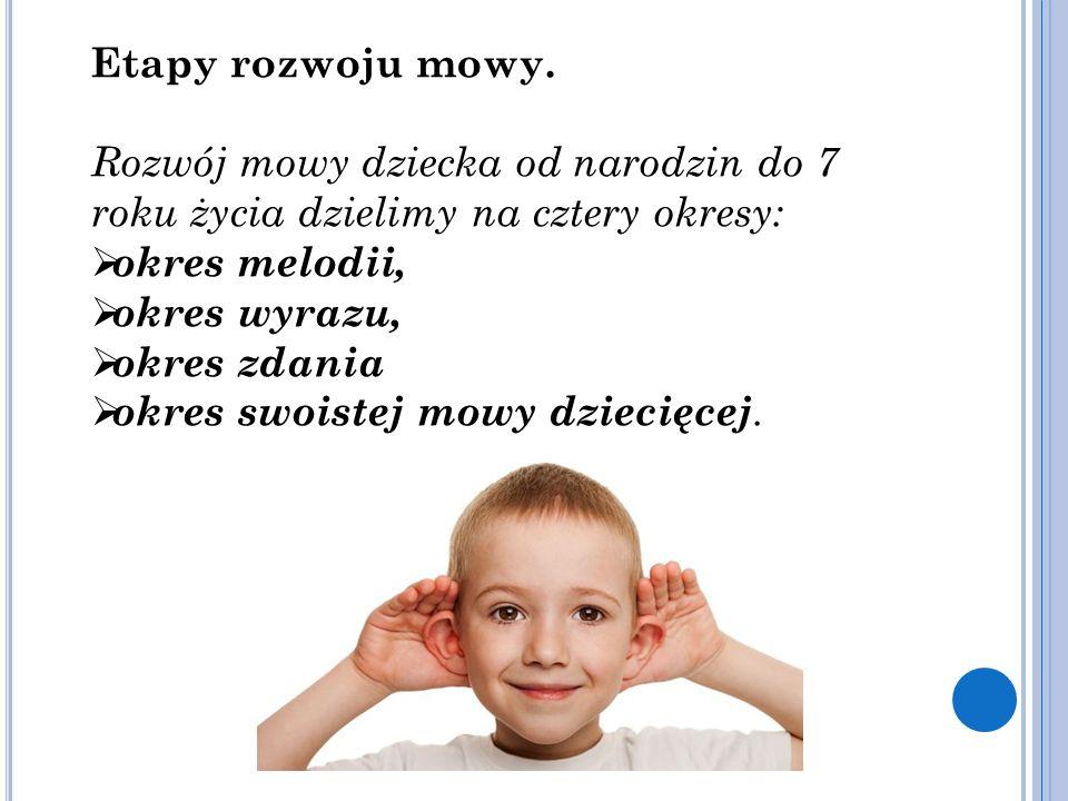 Etapy rozwoju mowy. Rozwój mowy dziecka od narodzin do 7 roku życia dzielimy na cztery okresy:  okres melodii,  okres wyrazu,  okres zdania  okres