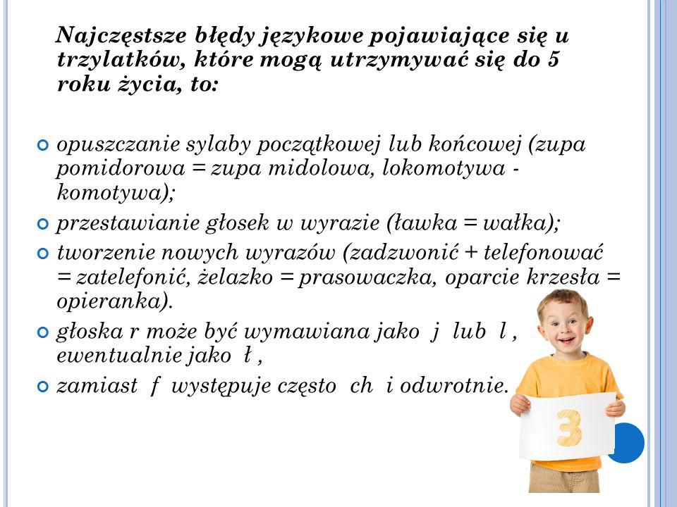 Najczęstsze błędy językowe pojawiające się u trzylatków, które mogą utrzymywać się do 5 roku życia, to: opuszczanie sylaby początkowej lub końcowej (z