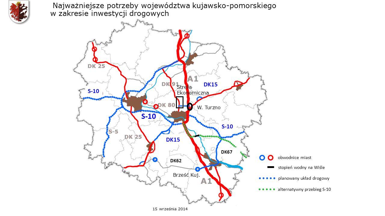 Najważniejsze potrzeby województwa kujawsko-pomorskiego w zakresie inwestycji drogowych obwodnice miast stopień wodny na Wiśle planowany układ drogowy alternatywny przebieg S-10 S-10 DK67 S-10 DK15 DK62 W.