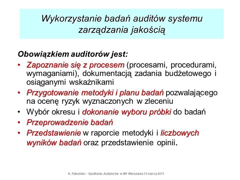 Obowiązkiem auditorów jest: Zapoznanie się z procesemZapoznanie się z procesem (procesami, procedurami, wymaganiami), dokumentacją zadania budżetowego