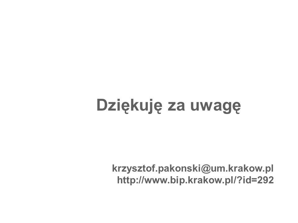 Dziękuję za uwagę krzysztof.pakonski@um.krakow.pl http://www.bip.krakow.pl/?id=292