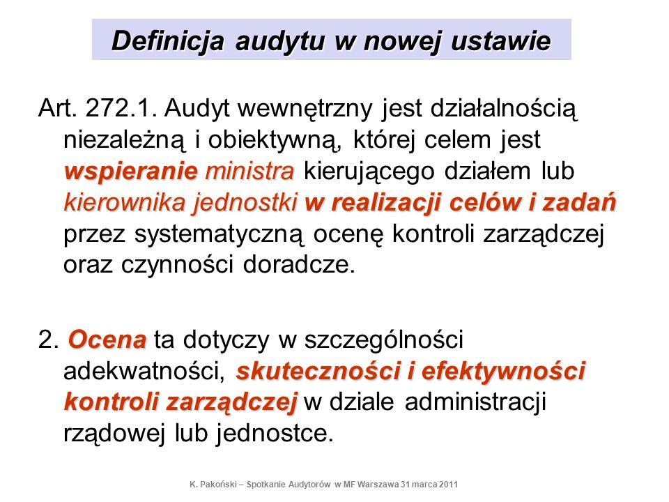 Definicja audytu w nowej ustawie wspieranie ministra kierownika jednostkiw realizacji celów i zadań Art. 272.1. Audyt wewnętrzny jest działalnością ni