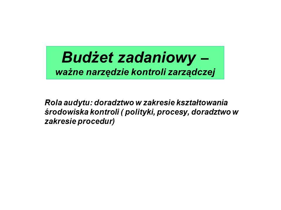 Rola audytu: doradztwo w zakresie kształtowania środowiska kontroli ( polityki, procesy, doradztwo w zakresie procedur) Budżet zadaniowy – ważne narzędzie kontroli zarządczej