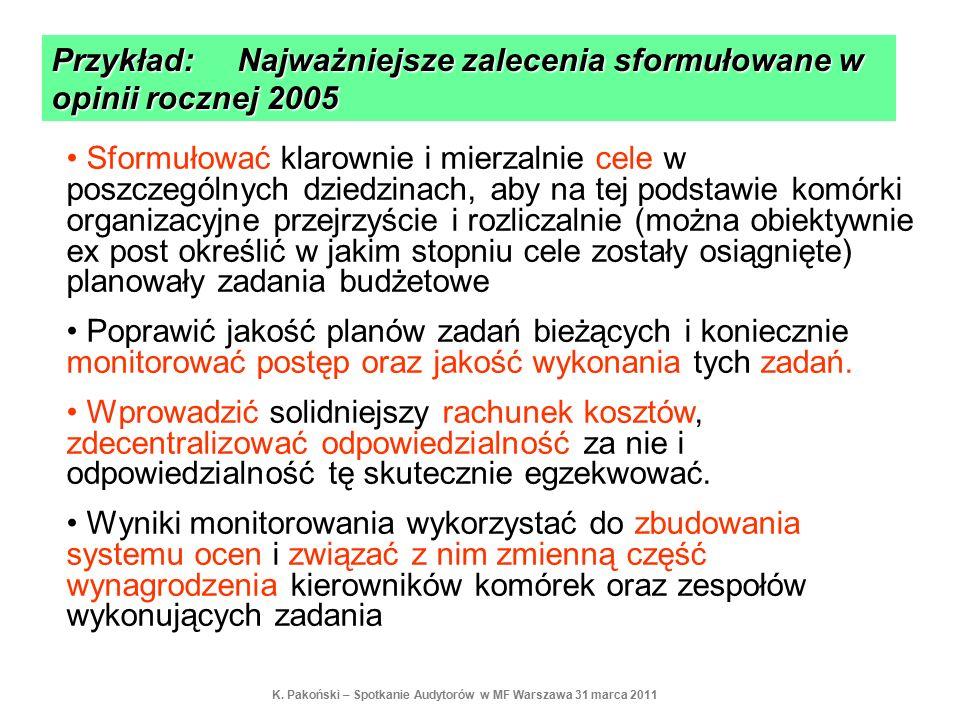 Przykład: Najważniejsze zalecenia sformułowane w opinii rocznej 2005 Sformułować klarownie i mierzalnie cele w poszczególnych dziedzinach, aby na tej
