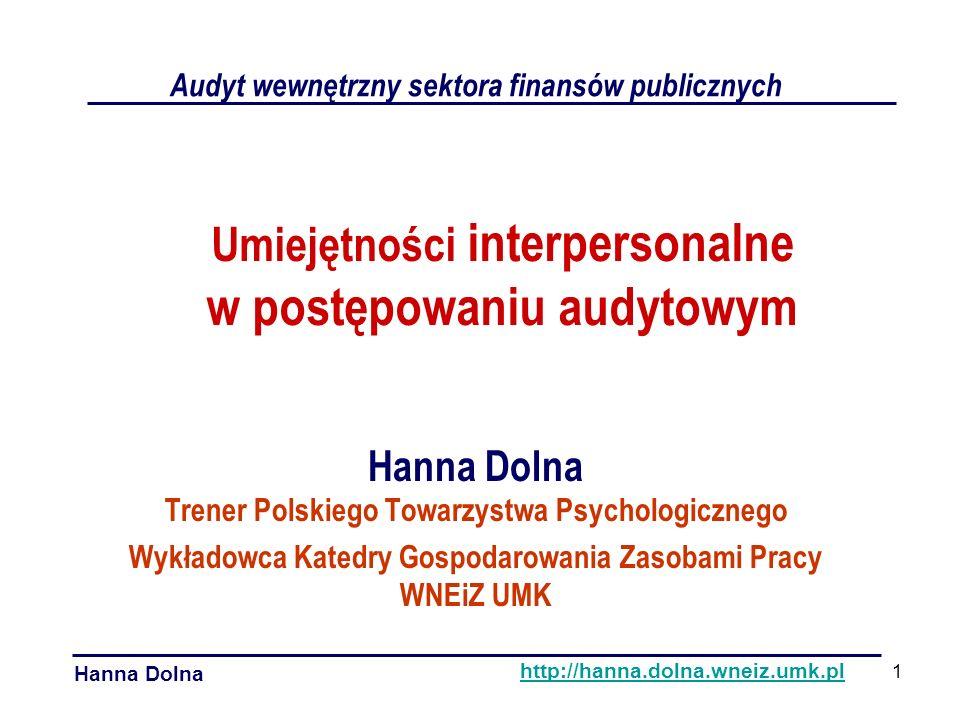 Komunikacja niewerbalna Umiejętności interpersonalne w postępowaniu audytowym Hanna Dolna http://hanna.dolna.wneiz.umk.pl ciągła nieświadoma wieloznaczna kanałem emocji kulturowa Ćw.