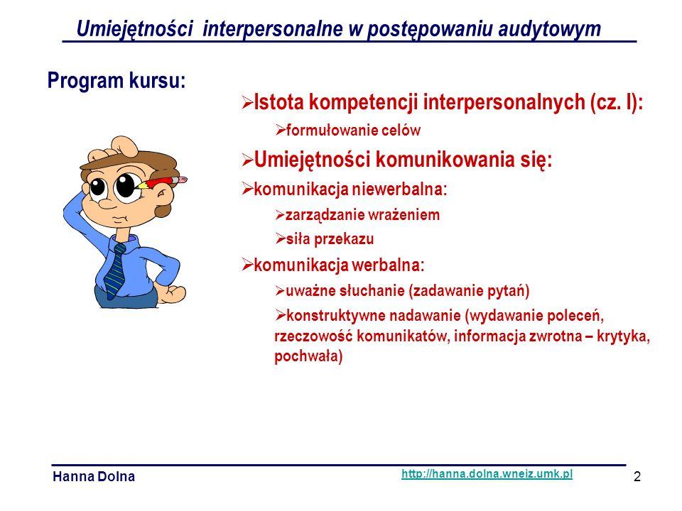 Hanna Dolnahttp://hanna.dolna.wneiz.umk.pl Niejednoznaczność przekazu niewerbalnego ćwiczenie Umiejętności interpersonalne w postępowaniu audytowym Komunikacja niewerbalna 13