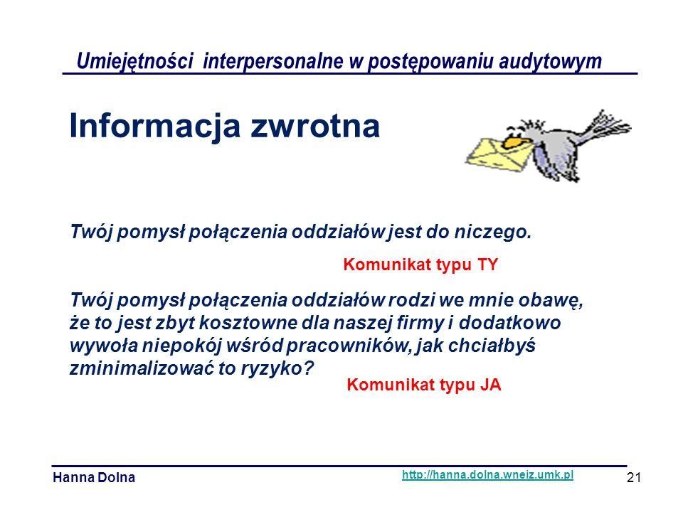 Komunikat typu JA Umiejętności interpersonalne w postępowaniu audytowym Hanna Dolna http://hanna.dolna.wneiz.umk.pl Informacja zwrotna Twój pomysł połączenia oddziałów jest do niczego.