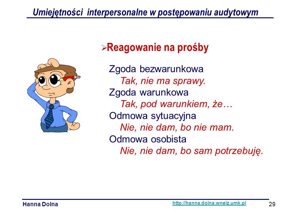  Reagowanie na prośby Umiejętności interpersonalne w postępowaniu audytowym Hanna Dolna http://hanna.dolna.wneiz.umk.pl 29 Zgoda bezwarunkowa Tak, nie ma sprawy.
