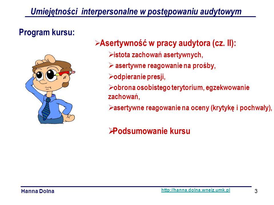 Umiejętności interpersonalne w postępowaniu audytowym Hanna Dolna http://hanna.dolna.wneiz.umk.pl Komunikacja werbalna:  słuchanie,  nadawanie,  klarowność.
