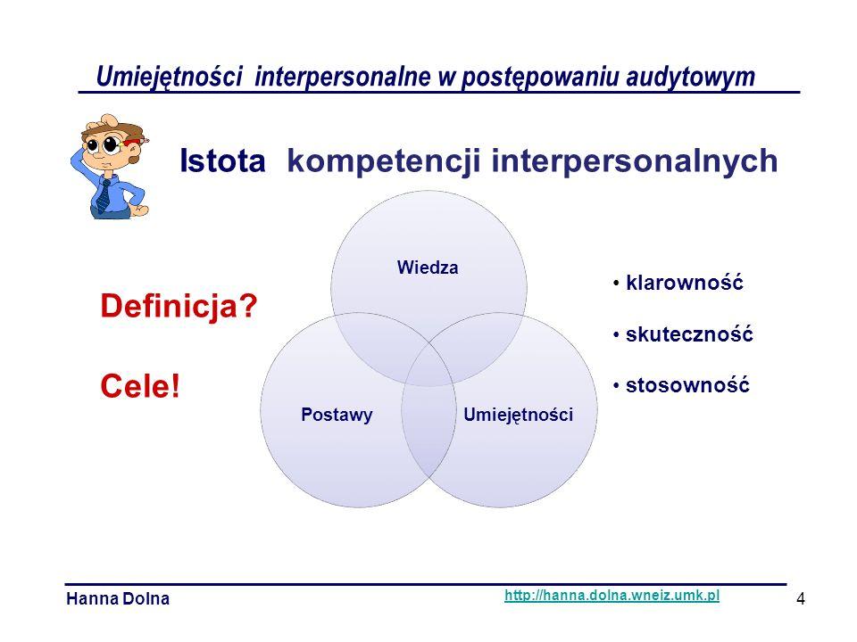 Umiejętności interpersonalne w postępowaniu audytowym Hanna Dolna http://hanna.dolna.wneiz.umk.pl Istota kompetencji interpersonalnych klarowność skuteczność stosowność Definicja.