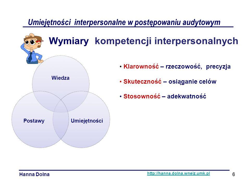 Umiejętności interpersonalne w postępowaniu audytowym Hanna Dolna http://hanna.dolna.wneiz.umk.pl Wymiary kompetencji interpersonalnych Klarowność – rzeczowość, precyzja Skuteczność – osiąganie celów Stosowność – adekwatność Wiedza UmiejętnościPostawy 6