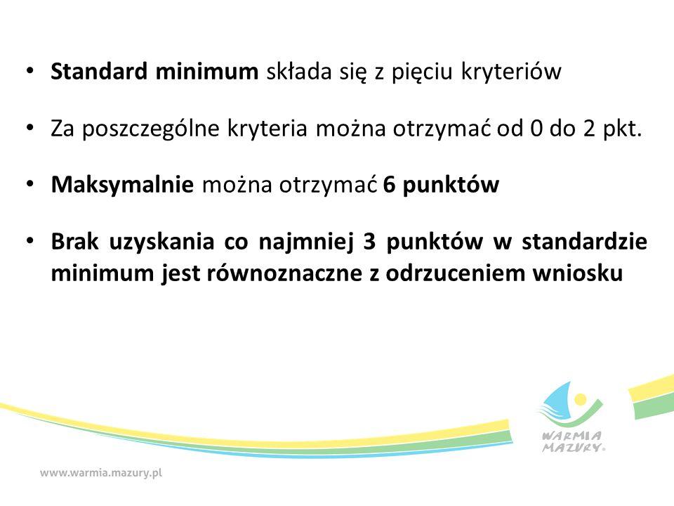 Standard minimum składa się z pięciu kryteriów Za poszczególne kryteria można otrzymać od 0 do 2 pkt. Maksymalnie można otrzymać 6 punktów Brak uzyska