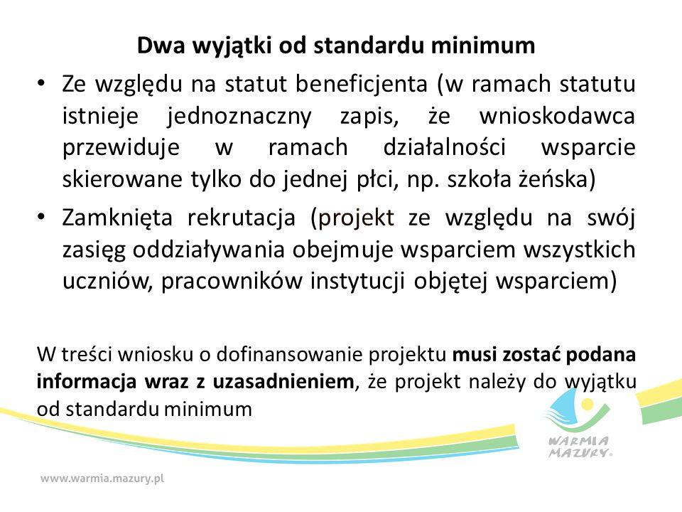 Dwa wyjątki od standardu minimum Ze względu na statut beneficjenta (w ramach statutu istnieje jednoznaczny zapis, że wnioskodawca przewiduje w ramach
