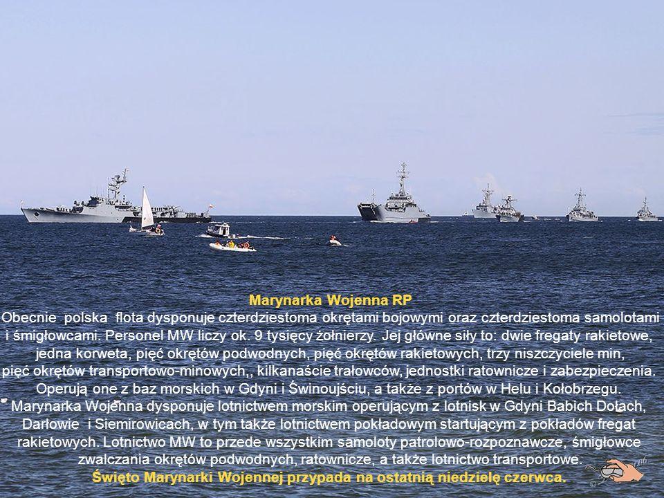 Marynarka Wojenna RP Obecnie polska flota dysponuje czterdziestoma okrętami bojowymi oraz czterdziestoma samolotami i śmigłowcami.