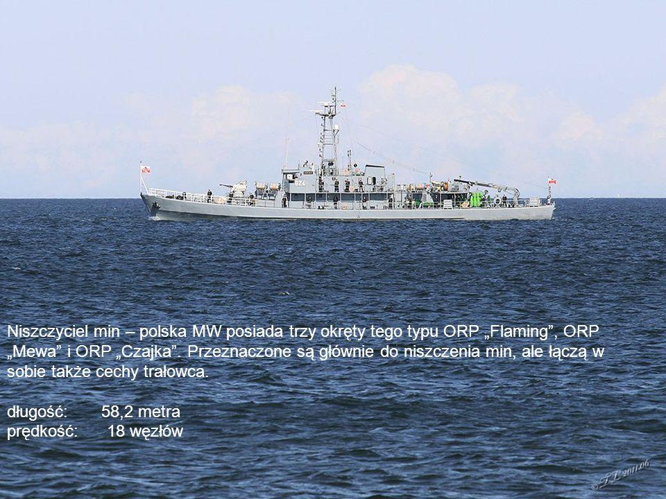 """Okręt rozpoznawczy – Marynarka Wojenna posiada dwa okręty tego typu: ORP """"Nawigator i ORP """"Hydrograf (na zdjęciu)."""