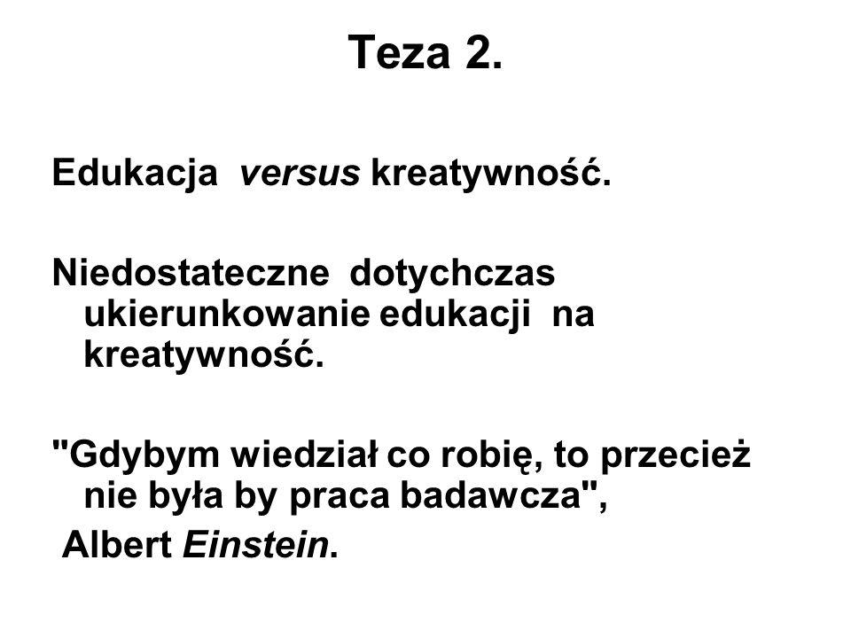 Teza 2. Edukacja versus kreatywność.