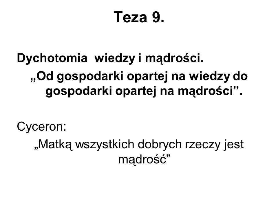 Teza 9. Dychotomia wiedzy i mądrości.