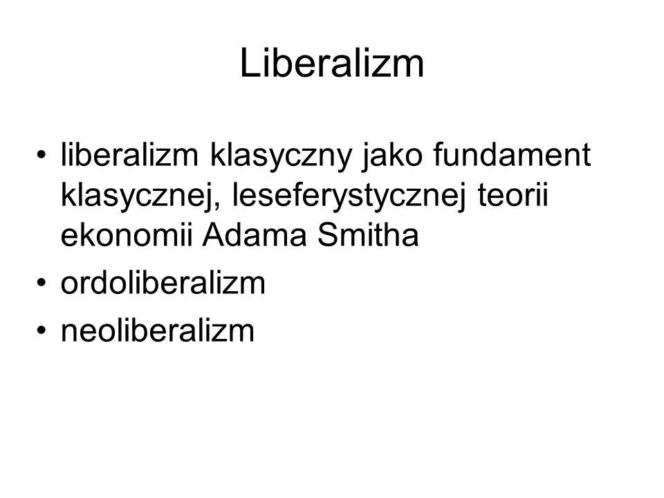 Liberalizm liberalizm klasyczny jako fundament klasycznej, leseferystycznej teorii ekonomii Adama Smitha ordoliberalizm neoliberalizm