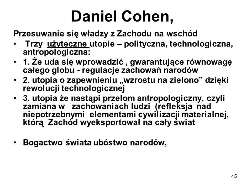 45 Daniel Cohen, Przesuwanie się władzy z Zachodu na wschód Trzy użyteczne utopie – polityczna, technologiczna, antropologiczna: 1.