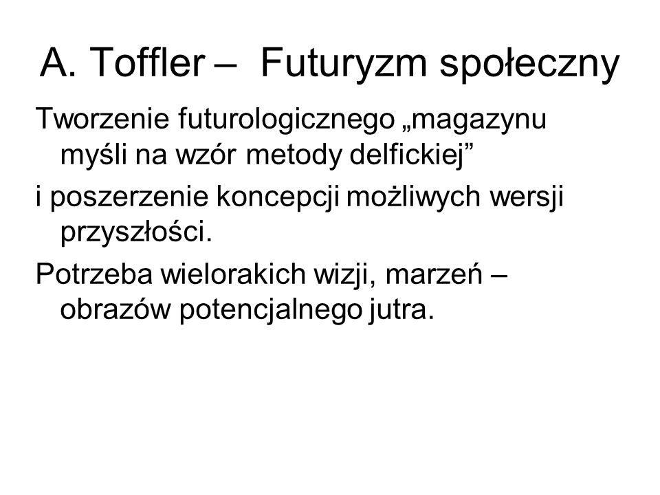 """A. Toffler – Futuryzm społeczny Tworzenie futurologicznego """"magazynu myśli na wzór metody delfickiej"""" i poszerzenie koncepcji możliwych wersji przyszł"""