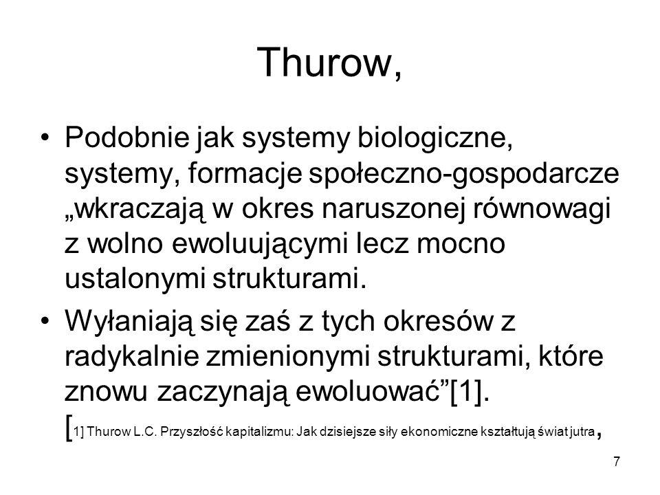 """7 Thurow, Podobnie jak systemy biologiczne, systemy, formacje społeczno-gospodarcze """"wkraczają w okres naruszonej równowagi z wolno ewoluującymi lecz mocno ustalonymi strukturami."""