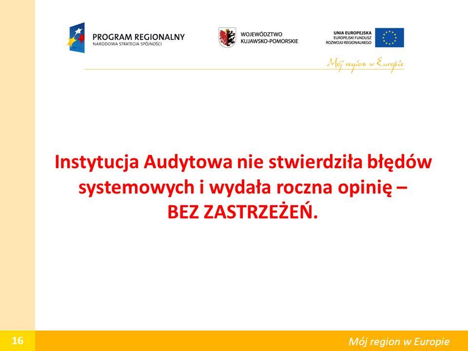 Instytucja Audytowa nie stwierdziła błędów systemowych i wydała roczna opinię – BEZ ZASTRZEŻEŃ. 16 Mój region w Europie