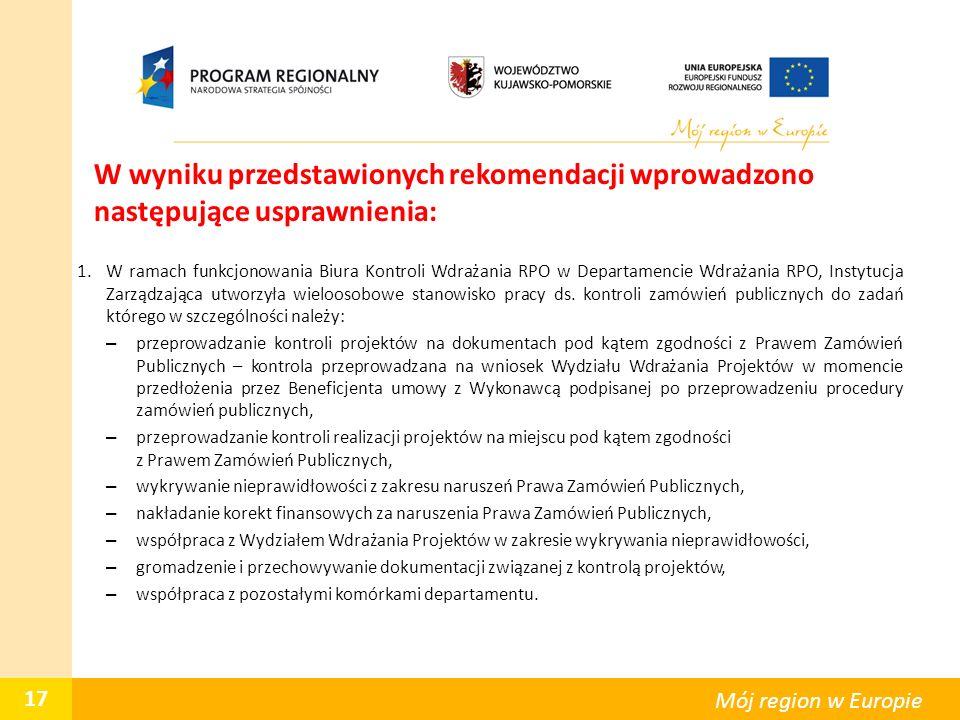 W wyniku przedstawionych rekomendacji wprowadzono następujące usprawnienia: 1.W ramach funkcjonowania Biura Kontroli Wdrażania RPO w Departamencie Wdr