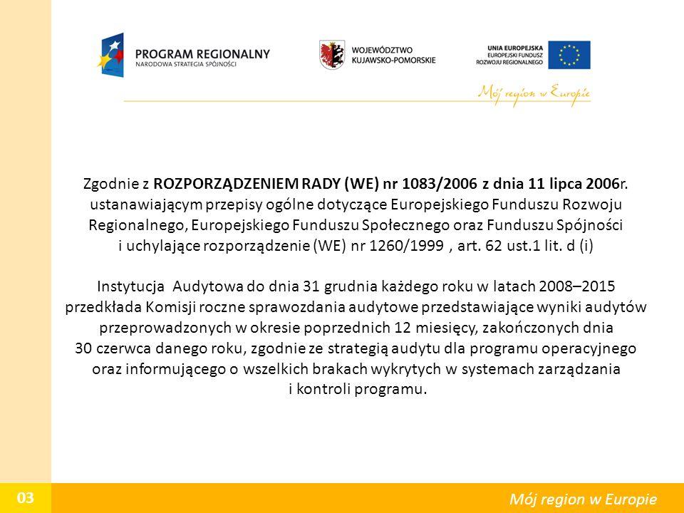 03 Mój region w Europie Zgodnie z ROZPORZĄDZENIEM RADY (WE) nr 1083/2006 z dnia 11 lipca 2006r. ustanawiającym przepisy ogólne dotyczące Europejskiego