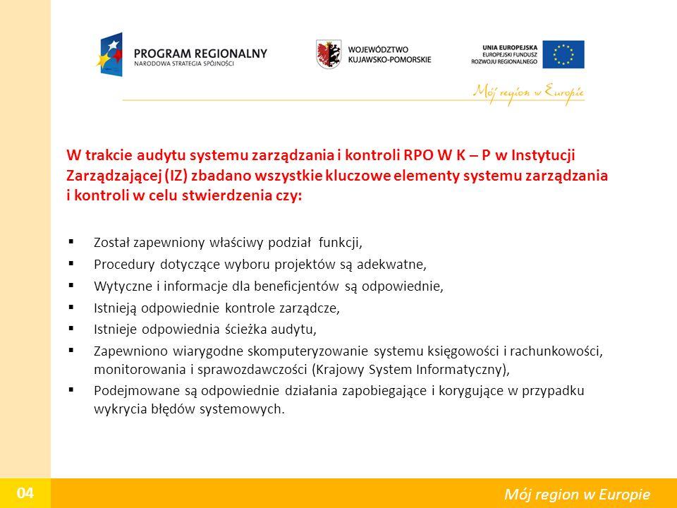 W trakcie audytu systemu zarządzania i kontroli RPO W K – P w Instytucji Zarządzającej (IZ) zbadano wszystkie kluczowe elementy systemu zarządzania i