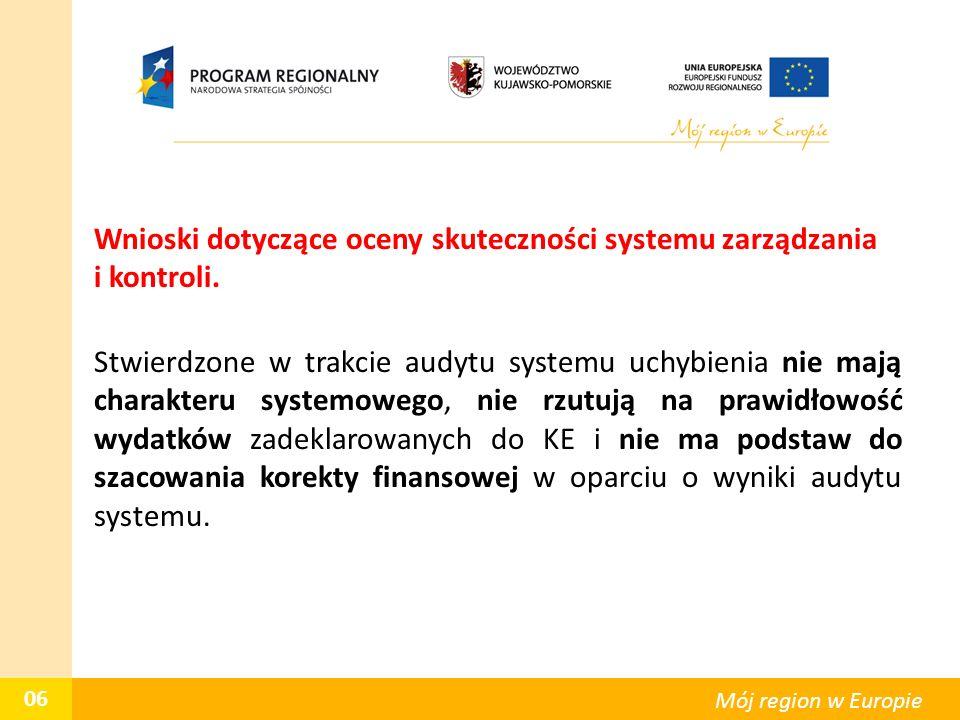 Wnioski dotyczące oceny skuteczności systemu zarządzania i kontroli. Stwierdzone w trakcie audytu systemu uchybienia nie mają charakteru systemowego,