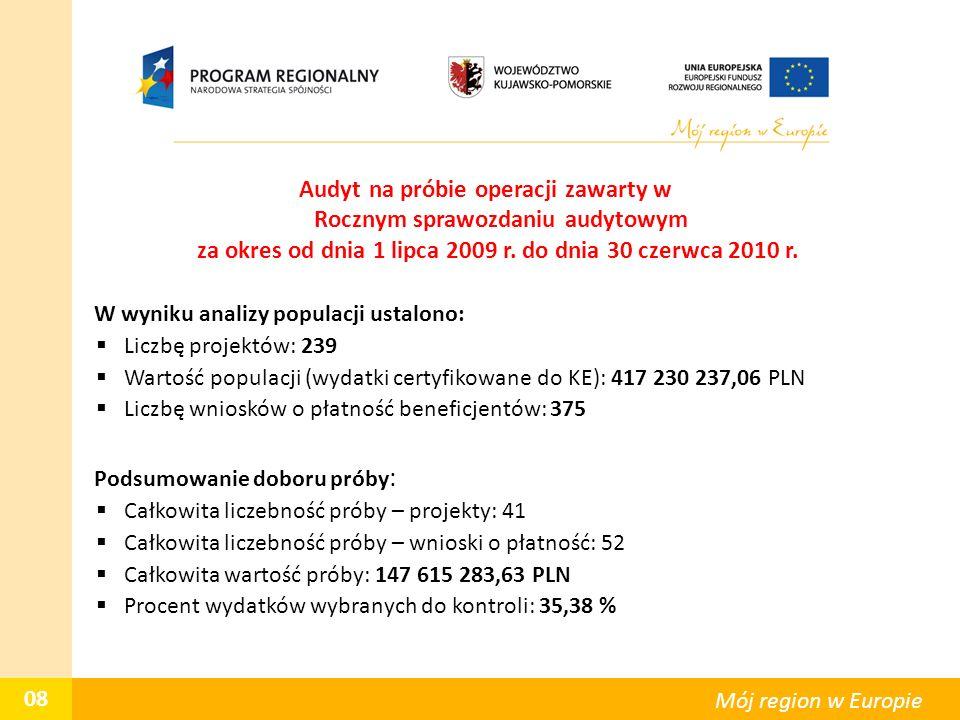 Audyt na próbie operacji zawarty w Rocznym sprawozdaniu audytowym za okres od dnia 1 lipca 2009 r. do dnia 30 czerwca 2010 r. W wyniku analizy populac