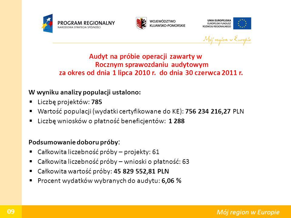 Audyt na próbie operacji zawarty w Rocznym sprawozdaniu audytowym za okres od dnia 1 lipca 2010 r. do dnia 30 czerwca 2011 r. W wyniku analizy populac