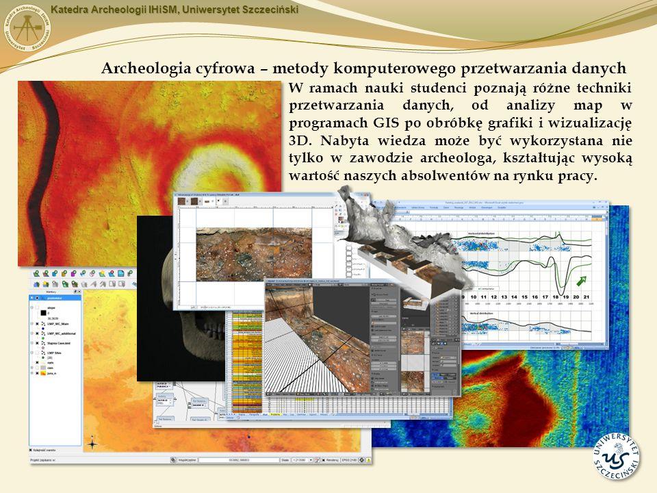 W ramach nauki studenci poznają różne techniki przetwarzania danych, od analizy map w programach GIS po obróbkę grafiki i wizualizację 3D.