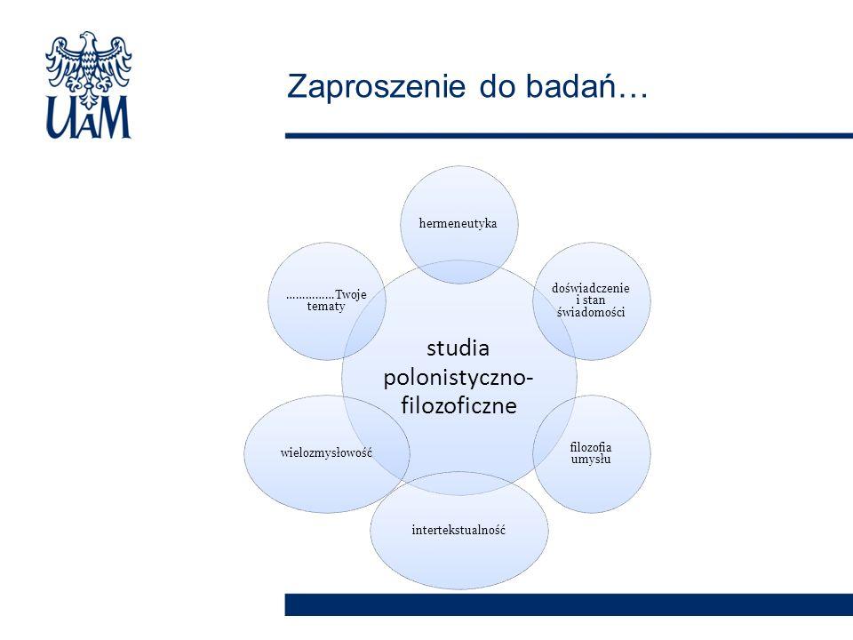 studia polonistyczno- filozoficzne hermeneutyka doświadczenie i stan świadomości filozofia umysłu intertekstualnośćwielozmysłowość ……………Twoje tematy Zaproszenie do badań…