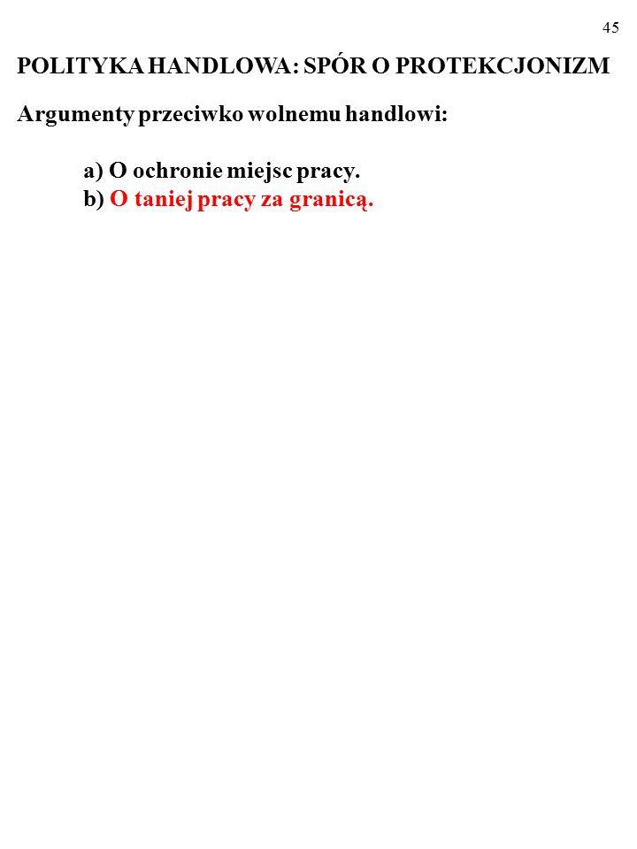 44 POLITYKA HANDLOWA: SPÓR O PROTEKCJONIZM Argumenty protekcjonistów: a) O ochronie miejsc pracy.