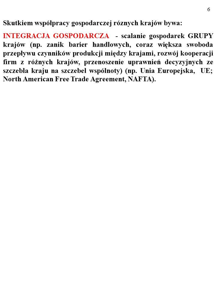 6 Skutkiem współpracy gospodarczej róznych krajów bywa: INTEGRACJA GOSPODARCZA - scalanie gospodarek GRUPY krajów (np.