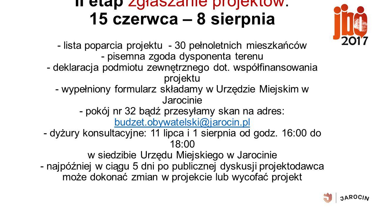 II etap zgłaszanie projektów: 15 czerwca – 8 sierpnia - lista poparcia projektu - 30 pełnoletnich mieszkańców - pisemna zgoda dysponenta terenu - deklaracja podmiotu zewnętrznego dot.