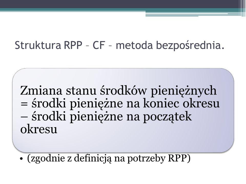 Struktura RPP – CF – metoda bezpośrednia. Zmiana stanu środków pieniężnych = środki pieniężne na koniec okresu – środki pieniężne na początek okresu (