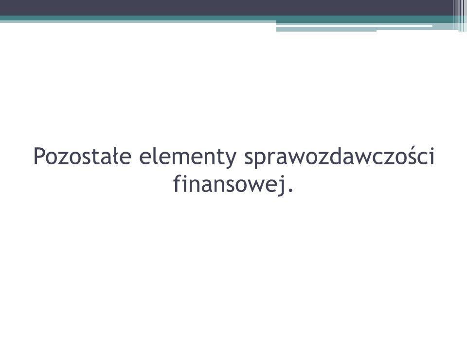 Pozostałe elementy sprawozdawczości finansowej.
