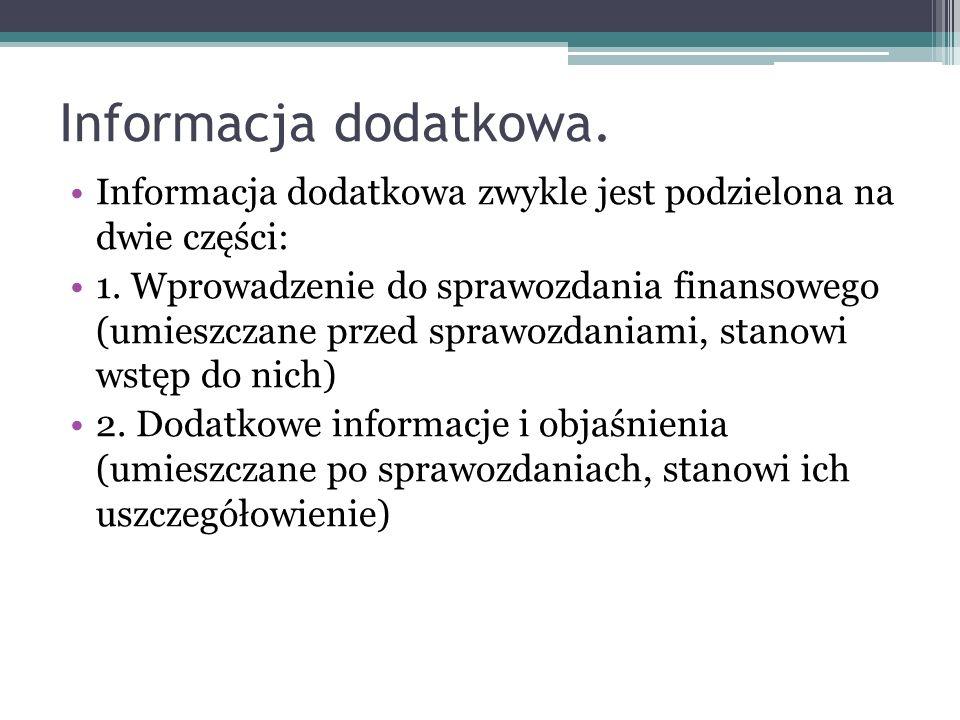 Informacja dodatkowa zwykle jest podzielona na dwie części: 1. Wprowadzenie do sprawozdania finansowego (umieszczane przed sprawozdaniami, stanowi wst