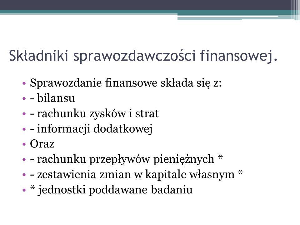Składniki sprawozdawczości finansowej. Sprawozdanie finansowe składa się z: - bilansu - rachunku zysków i strat - informacji dodatkowej Oraz - rachunk
